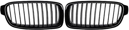 Parrillas delanteras del radiador del coche Parrillas de carreras Parrilla delantera automática Carbón Negro para BMW Serie 3 F30 F31 318i 320i 328i 2012 2013 2014 2015 2016 2017 2018 (Color: Negro