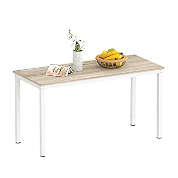 """Teraves Dining Table,Kitchen Table Multifuntional Desk for Living Room Dining Room,Home Office  55.11"""" Beige + White Frame"""