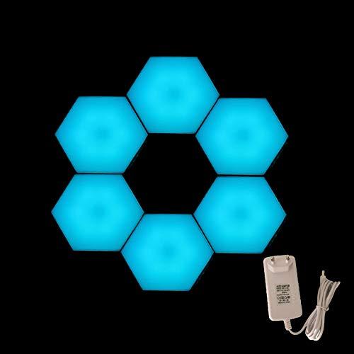 Pack de 6 lámparas de pared hexagonales DIY modulares sensibles al tacto, geometría, montaje LED, luz nocturna con adaptador de enchufe (azul)