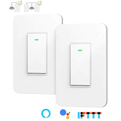3 Way Smart Wi-Fi Light Switch, Individual 3 Way Switch(only one needed),Compatible with Alexa Google Assistant & IFTTT,Remote Control, Timing Function No Hub Required(2-Pack)