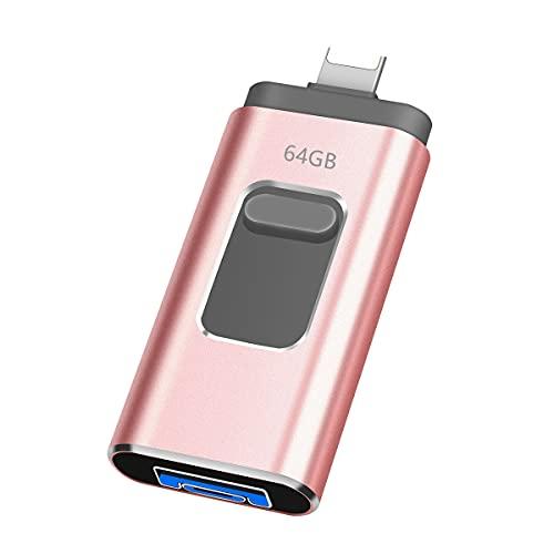 Allocat USB Stick 64gb USB 3.0 Speicherstick 3-in-1 USB-Stick Memory Stick für PC, OTG Android, Series Externer Speichererweiterung (64GB)