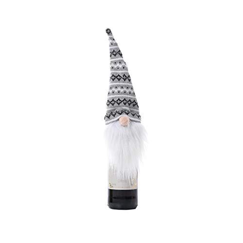 Fugift Muñeca de gnomo sueco de Navidad, vino tinto y champán, cubierta de botella de copo de nieve, festival, decoración de mesa