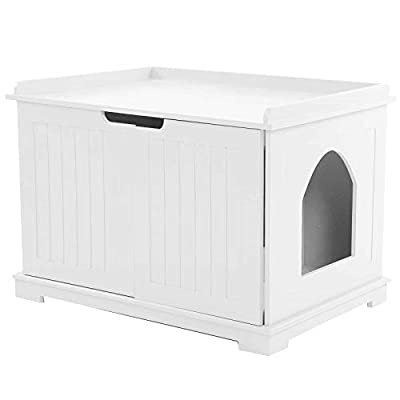 Cikonielf Cat House Litter Box, Multi?Function Durable MDF Pet Cat Litter Box Cat House Indoor Cattery Enclosure(white)