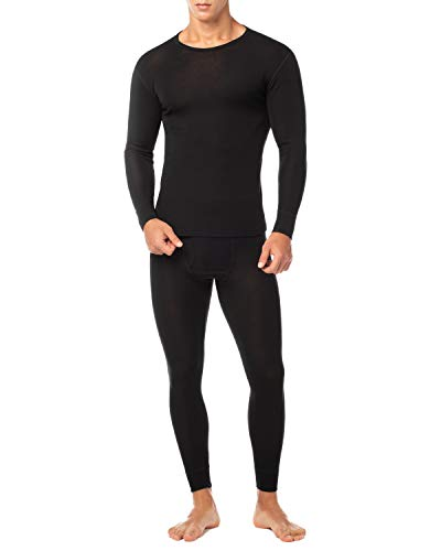 LAPASA Men's 100% Merino Wool Thermal Underwear Long John Set Lightweight Base Layer Top and Bottom M31 (Medium, Black)