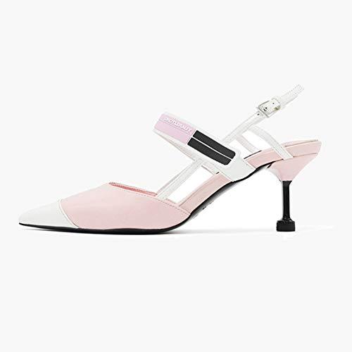 QqHAO Coincidencia de Colores de Primavera Zapatos Puntiagudos de tacón Alto Mujeres de Las Sandalias de Las Mujeres del Verano del Gato del talón de concordancia de Color Zapatos de Mujer,Rosado,36