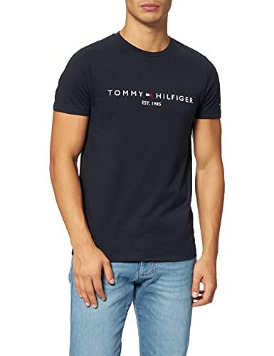Tommy Hilfiger Herren TOMMY FLAG HILFIGER TEE Sporttop Regular Fit Sporttop, Blau (Sky Captain 403), Medium ( Herstellergröße:M)