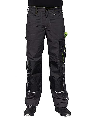 Stenso Prisma - Pantalones Cargo de Trabajo para Hombre - Resistentes y con numerosos Bolsillos - Gris/Verde EU46