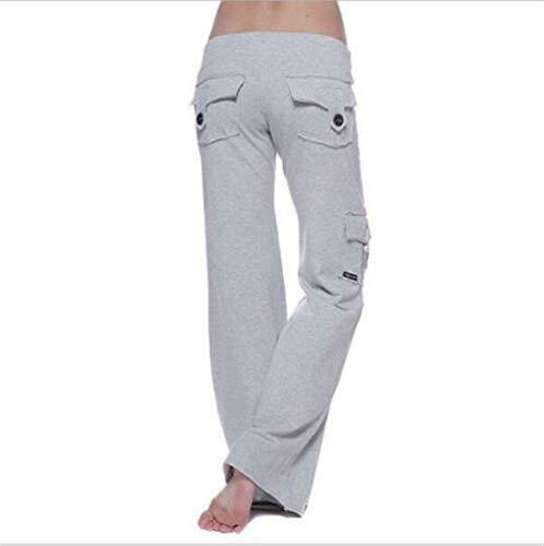 EU Stretchy Zachte Eco-vriendelijke Bamboe Pocket Yoga Broek Wijde been joggingbroek uitlopende broek met meerdere zakken