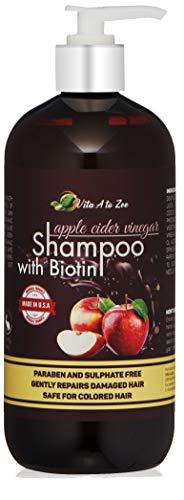 Apple Cider Vinegar & Biotin Shampoo (16.9 Fl Oz) | Hair Thickening & Strengthening Shampoo with Aloe Vera Juice, Argon Oil & Saw Palmetto | Balances pH, Condition, Moisturize & Remove Build-up