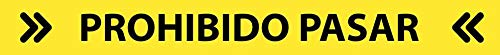 Pegatinas Señalización Antideslizante para Suelo Pack de 4 Uds Prohibido Pasar (64x7 cm Prohibido, Amarillo/Negro)