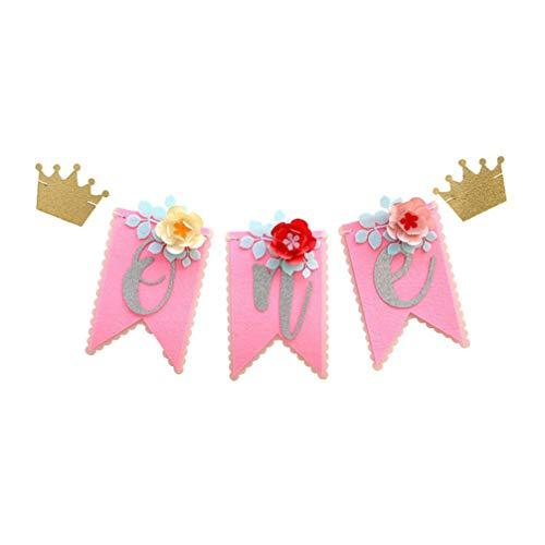 Amosfun 1st Birthday Banner Girls One Birthday Banner Highchair Banner 1st Birthday Pink for Baby Shower Party Supplies