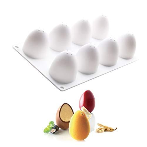 NNGT Molde para Pastel con Forma de Huevo, Molde para Pastel, Molde de Silicona, Molde para Pastel con Forma de Huevo, Molde de Silicona para Galletas de 8 cavidades