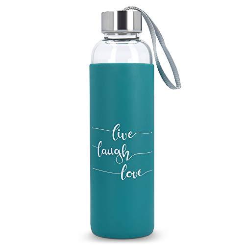 Navaris Botella de Agua de Vidrio Reutilizable - Cantimplora de borosilicato con Funda de Silicona - Botellín de Cristal sin BPA - Live Laugh Love