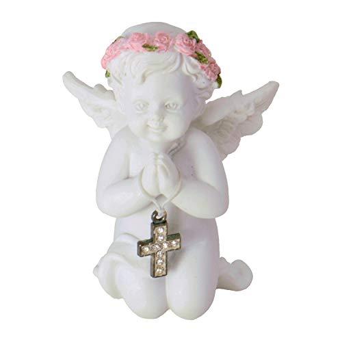 Unbekannt Engel Dekofigur mit Kristallkreuz - Engelchen Deko Figur