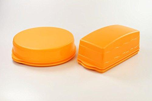 TUPPERWARE Junge Welle Kuchenform rund Torty + Kastenkuchenbehälter orange