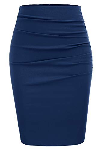 GRACE KARIN Women Ruched Work Business Party Pencil Skirt Size M,Dark Blue