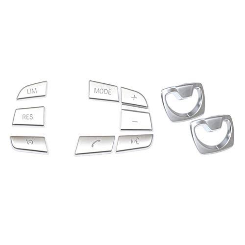 MSRRY Kit de Ajuste de la Cubierta del Marco del cinturón del Asiento del Pilar 2 unids con el botón del Interruptor del Interruptor del botón del Volante del automóvil de 7 Piezas
