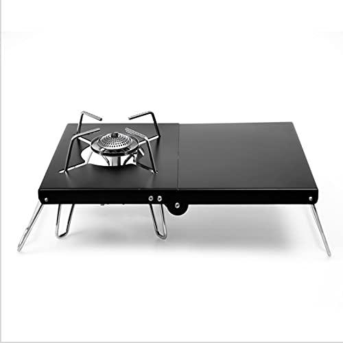 Mini mesa de estufa, para acampar, pícnic, para estufa, mesa plegable de acero inoxidable, con bolsa de almacenamiento para barbacoa al aire libre, camping, senderismo, viajes