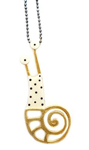 kiss the frog Collier Schnecke Weiss 925er Silber vergoldet Kette Black Diamond Cut 45 cm l Goldener Geschenkbox