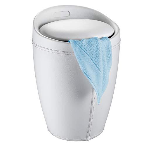 WENKO Badhocker Candy Leder Optik Weiß, Hocker mit Stauraum für das Badezimmer und Wohnzimmer, integrierter Wäschesammler, ABS-Kunststoff, Fassungsvermögen 20 L, Ø 36 x 50,5 cm