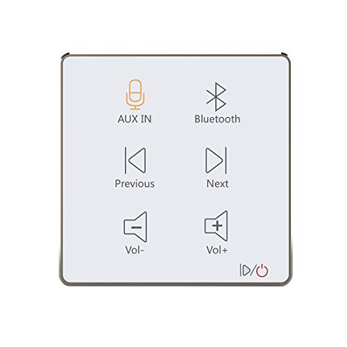 HELMER in Wall Audio Amplifier, Wall Mount Bluetooth Receiver, in-Wall Stereo Audio Volume Controller, White, L50