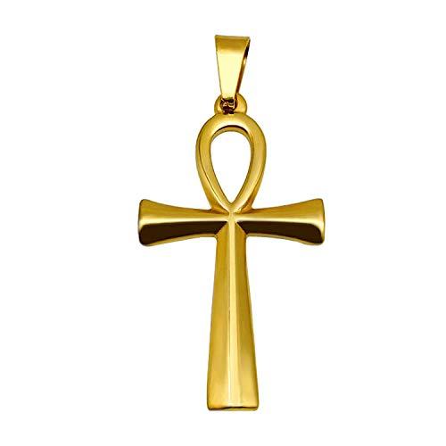 Inveroo Collar Colgante De Oro Cruzado para Hombres Boy Anka Egypt Glo