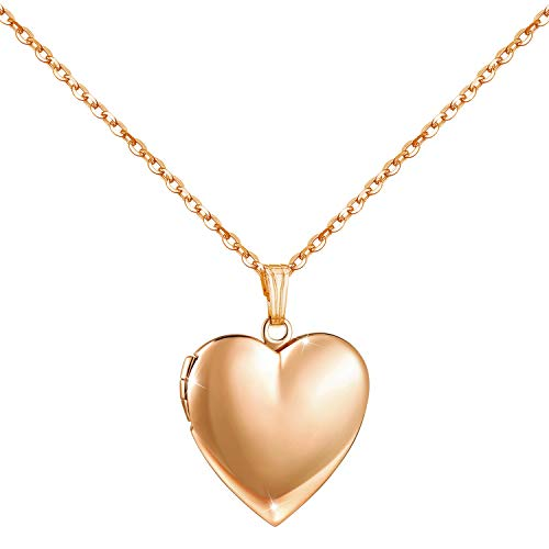 YOUFENG Love Heart Locket Necklace That Holds Pictures Polished Lockets Necklaces Birthday Gifts for Girls Boys (Rose Locket)