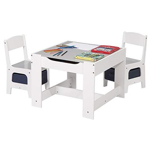 eSituro SCTS0004 Kindersitzgruppe 1 Kindertisch und 2 Stühle mit Stauraum, Maltisch für Kinder Kindermöbel Set, Tischplatte abnehmbar Weiß