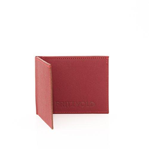 FRITZVOLD ® Kleiner dünner Geldbeutel Herren - Geldbörse, Slim Wallet, Brieftasche, flaches Portmonee, Kartenetui in rot für Männer und Frauen MINIMAL Wallet