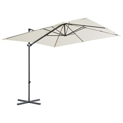 Tidyard Sonnenschirm Ampelschirm Kipp- 360 °drehbares Design Mit 8 Stahlrippen,Strandschirm Gartenschirm Mit Lüftung und Kurbelsystem,Terrassenschirm Marktschirm,Sandfarben
