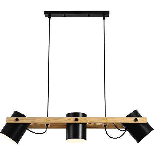 OUKANING - Lámpara colgante de madera con 3 focos, diseño industrial, ideal para la mesa del comedor (bombilla exclusiva)