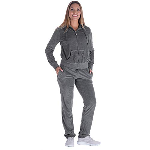 Sweat Suits for Women Set 2 Piece Outfits Velvet Joggers Velour Tracksuit Hoodie and Sweatpants (L, Grey)