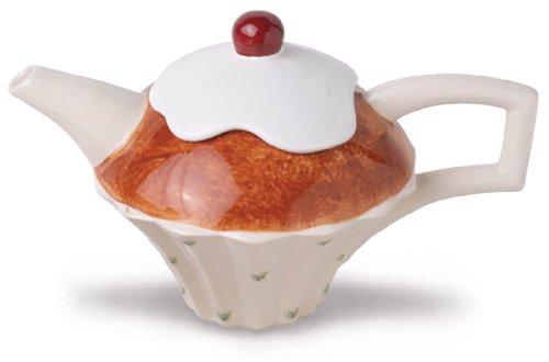 The Teapottery - Teiera in Ceramica, Misura Media, Motivo: Torta, Colore: Marrone/Bianco