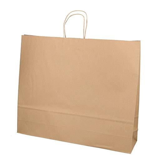 DeinPack Umweltschonende Papier Tragetaschen groß I Papiertüten Geschenktüten Papiertragetaschen biologisch abbaubar, kompostierbar I 25 x braune Papier Tüten 54 x 13 x 45 cm