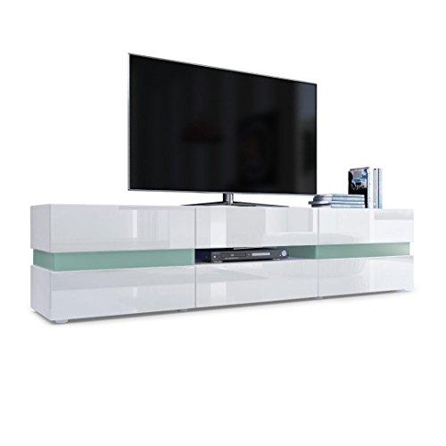 Vladon TV Board Lowboard Flow, Korpus in Weiß matt/Front in Weiß Hochglanz