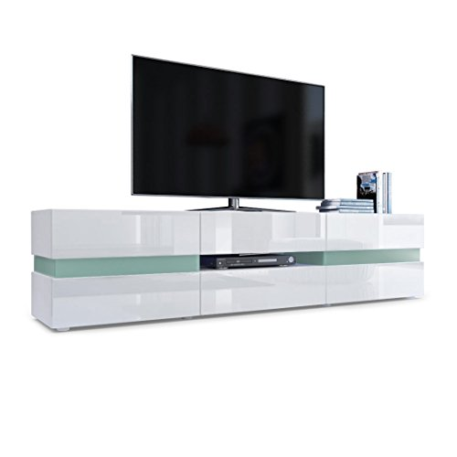 Vladon TV Unit Cabinet Flow, Carcass in White matt/Front in White High Gloss