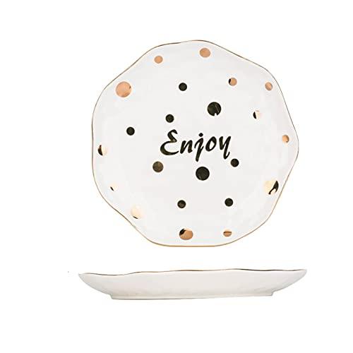 JSJJAEY Plato de Cena 1 unid diseño Dorado Cena Placa de arroz Cuenco de cerámica Lunares vajilla Decorativo Desayuno Plato Sopa tazón (Color : 7.8 Inch Plate)