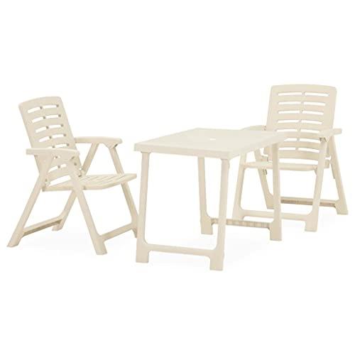 vidaXL Folding Bistro Set 3 Piece Outdoor Garden Furniture Set Bistro Table and Chair Balcony Set Patio Table and Chair Furniture Plastic White