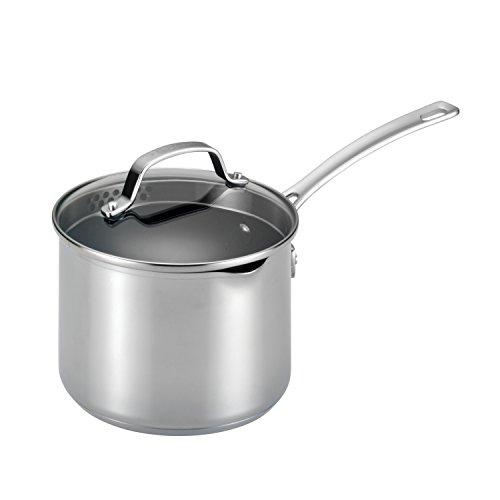 Circulon 77882 Genesis Stainless Steel Sauce Pan/Saucepan with Straining and Lid, 3 Quart