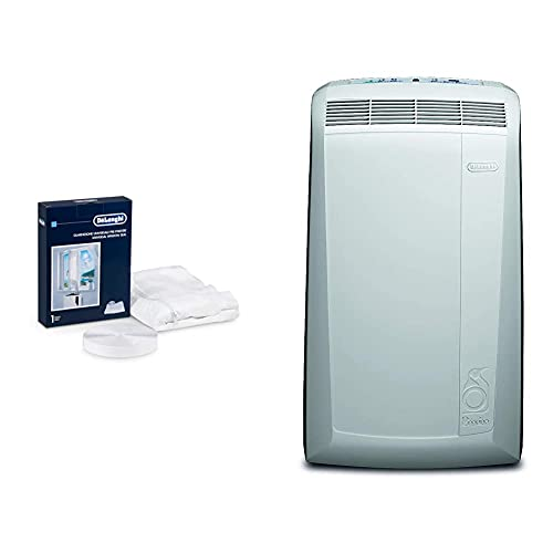 De'Longhi Universal Fenster-Installationskit DLSA012, weiß + De'Longhi Pinguino PAC N82 Eco mobiles Klimagerät mit Abluftschlauch, Klimaanlage für Räume bis 80 m³, weiß