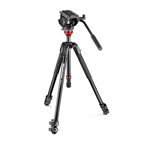 """Manfrotto MVH500AH Fluid Video Head with 190X Video Aluminum Tripod & Leveling Column, Supports 11 Lbs, 68"""" Maximum Height"""