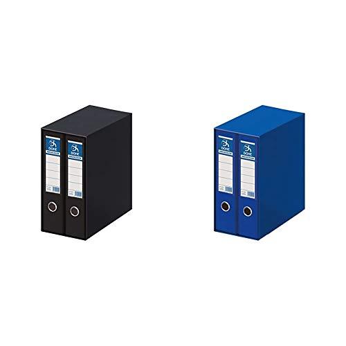 DOHE Archicolor - Módulo 2 archivadores, folio lomo ancho, color negro + Archicolor - Módulo 2 archivadores folio lomo ancho, color azul