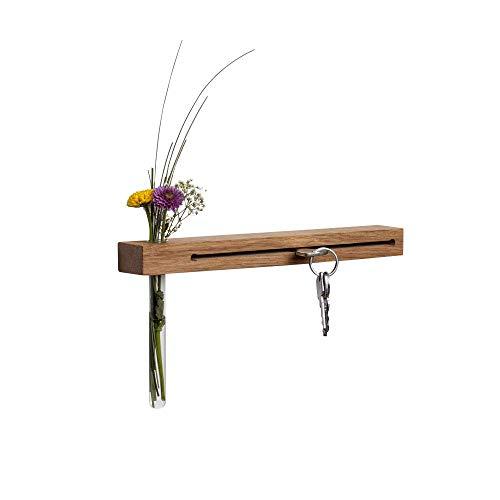 WOODS Schlüsselbrett mit Vase I Nut - Schlüsselhalter modern I Wanddekoration aus Holz handgefertigt in Bayern I Schlüsselleiste mit Ablage I Schlüsselboard Holz mit Reagenzglas (Eiche, 30 cm)