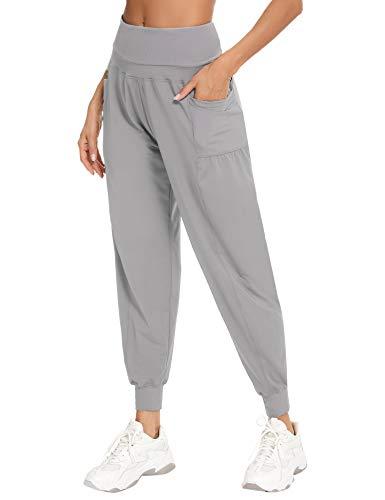 Irevial Pantalones Chandal Mujer Talla Grande,Pantalones Deportivos con elástico Cintura Alta,Pantalones Ligeros...