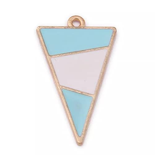 LLBBSS 10 unids 29×16mm aleación triangular esmalte triángulo forma encantos geométricos DIY pendientes colgantes simples gráficos serie accesorios