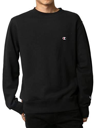 [チャンピオン] トレーナー 長袖 裏毛 綿100% 定番 クルーネック ワンポイントロゴ刺繍 クルーネックスウェットシャツ C3-Q001 メンズ ブラック XS
