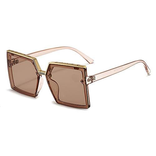 Fenshan223 2021 Retro Black Box Sun Protector Solar Versión Coreana de la Tiempo Gafas de Sol Cubierta de Cara Lisa Glasses de Marco Grande (Size : Brown Color)