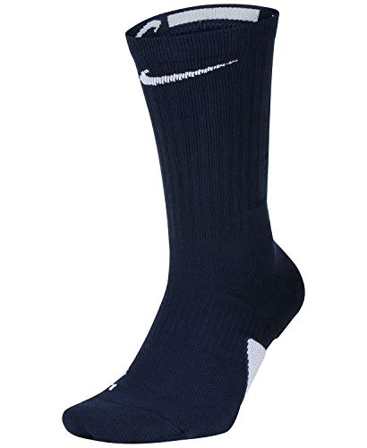 Nike Elite Crew Basketball Socks (Large, Midnight Navy/White/White)