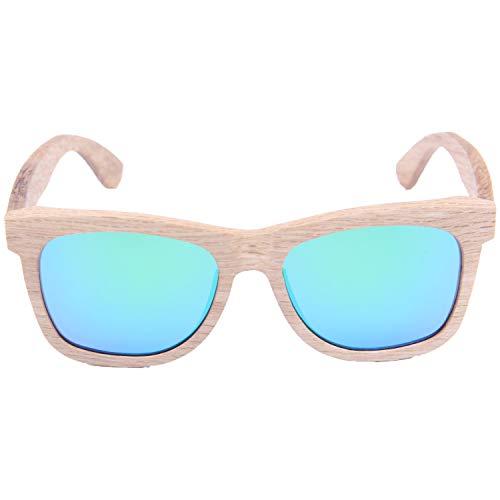 LY4U Gafas de sol de madera para hombres y mujeres Gafas de sol vintage Lentes polarizadas Gafas de sol con caja de bambú