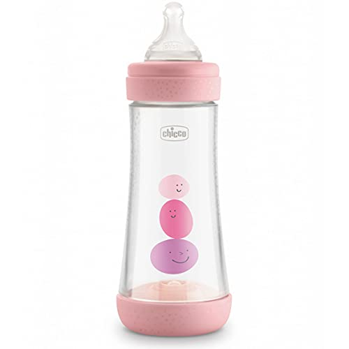 Chicco Perfect 5 Biberones Anticólicos Con Tetina De Silicona De Flujo Rápido Para Bebés 4 Meses, Biofuncional Con Sistema Intuiflow, Rosa, 300 Ml